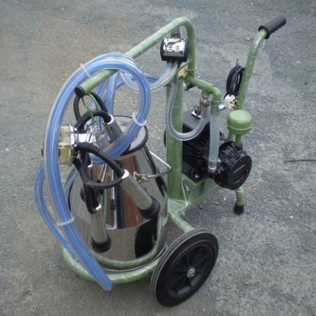 Single cow enamelled portable milking portable trolley.